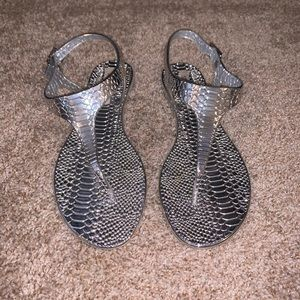Silver Sandals, Size 8